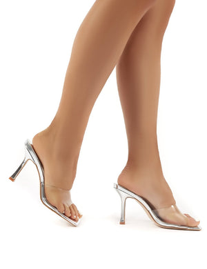 Harlow Silver and Perspex High Heels