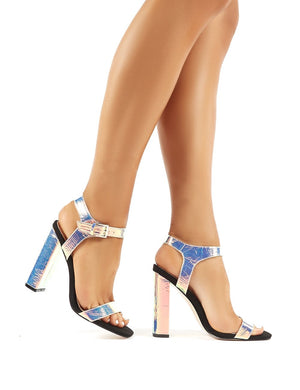 Meteor Iridescent Block Heeled Barely Theres