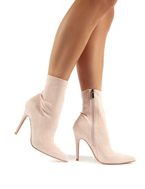 Must Nude Suede Sock Fit Stiletto Heeled Ankle Boots