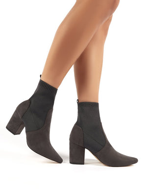 Nuala Grey Suede Block Heeled Knitted Sock Fit Ankle Boots