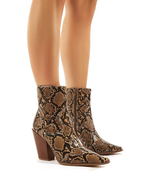 Shannon Snakeskin Western Block Heeled Ankle Boots
