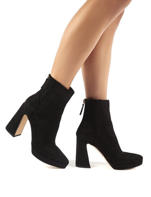 Tegan Black Faux Suede Flare Heeled Ankle Boots