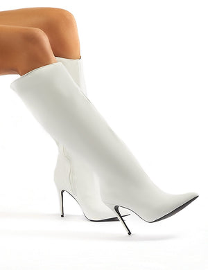 Thriller White Pointed Stiletto Heeled Knee High Boots