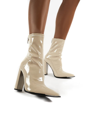 Affection Taupe Patent Block Heeled Ankle Boots