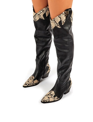 Lasso Black Western BlockHeeled Knee High Boot with Mock Croc