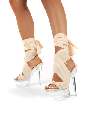 Secrets Nude Platform Ribbon Tie Wrap Around Ankle Heels