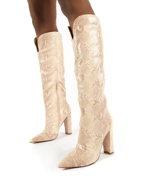 Slow Pink Snake Knee High Block Heel Boots
