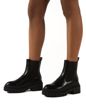 Zenya Black Chunky Sole Ankle Boots
