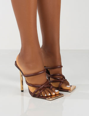 Coincidence Choc Strappy Square Toe Metallic Stiletto Heels