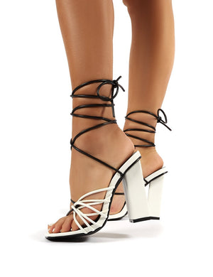 Stellar Monochrome Lace Up Block High Heels