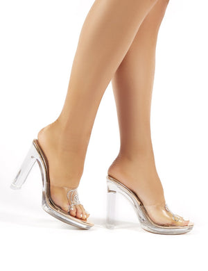 Low Key Rose Gold Diamante Slogan Perspex Block Heeled Mules
