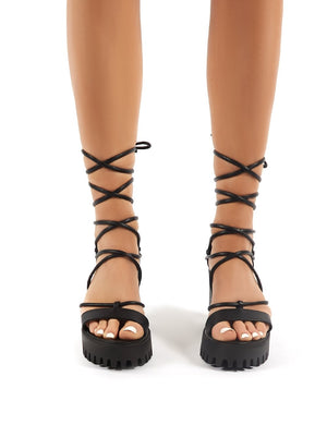 Roxanne Black Strappy Lace Up Cleated Platform Block Heels