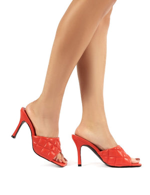 Bossy Red PU Quilted Heeled Mules