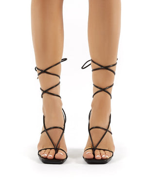 Hysteria Black PU Strappy Lace Up Perspex Stiletto High Heels