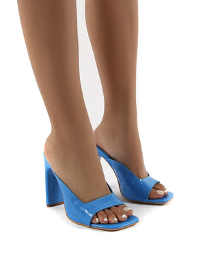 Abelle Blue Wide Fit Square Toe High Heeled Mules
