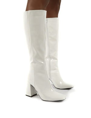 Apology White Patent Knee High Block Heel Boots