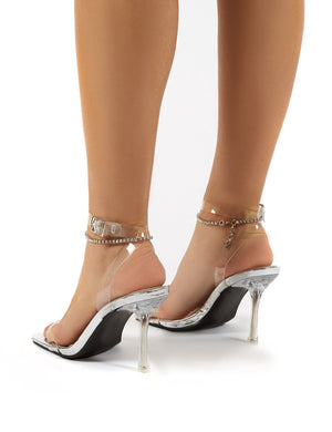 April Silver Wide Fit Perspex Diamante Ankle Chain Square Toe Heels