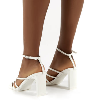 Charms White PU Square Toe Strappy Detail Block Heels