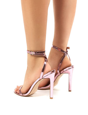 Notion Squared Toe Barely There Heels in Metallic Pink