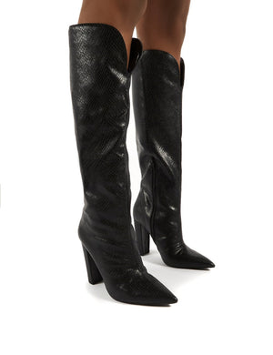 Slow Black Snake Knee High Block Heel Boots