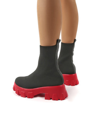 Trust Black and Red Chunky Platform Sole Sock Ankle Boots
