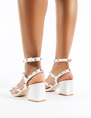 Always Studded Strappy Block Mid Heels in White