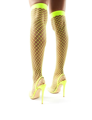 Flutter Neon Yellow Fishnet Over the Knee Stiletto Heels