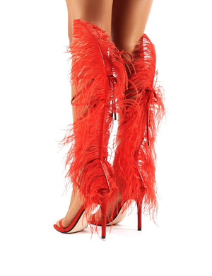 Frolic Red Feather Extreme Lace Up Stiletto High Heels