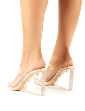 Maliboo Perspex Mule with Wedge Heel in Nude