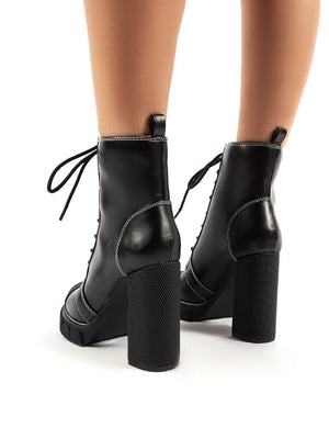 Obvious Black Lace Up Platform Block Heeled Ankle Boots