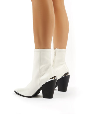Phoenix White PU Block Heeled Western Ankle Boots