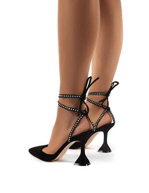 Tate Black Diamante Lace Up Statement High Heels
