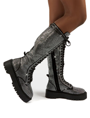 Bitter Sweet Black Diamante Lace Up Knee High Chunky Boots