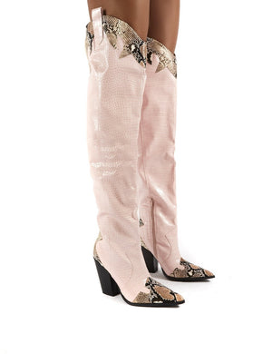 Brandy Pink Western Block Heeled Knee High Boots