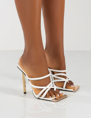 Coincidence White Strappy Square Toe Metallic Stiletto Heels