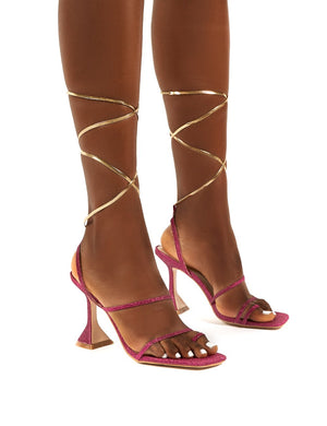 Evalyn Pink Glitter Lace Up Detail Mid Height Heels