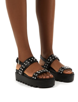 Rider Black PU Studded Two Strap Platform Sandals