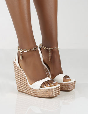 Idolize Wide Fit White Padlock And Chain Detail Wedged Heels
