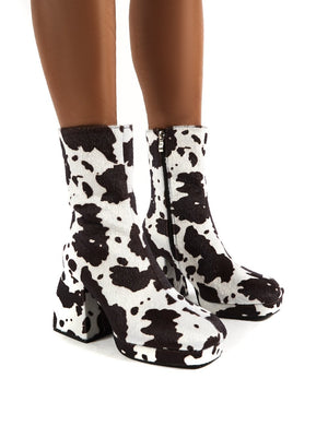 Imagine Cow Print Multi Chunky Heel Ankle Boots