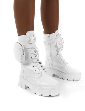 Intention White Chunky Sole Pouch Ankle Boots