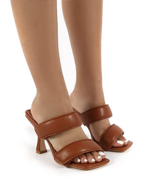 Kora Tan Velcro Double Strap Square Toe Heeled Mules