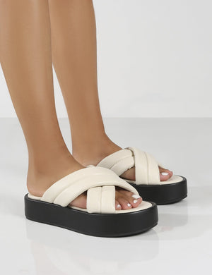 Kyla Wide Fit Stone PU Padded Cross Over Sandals