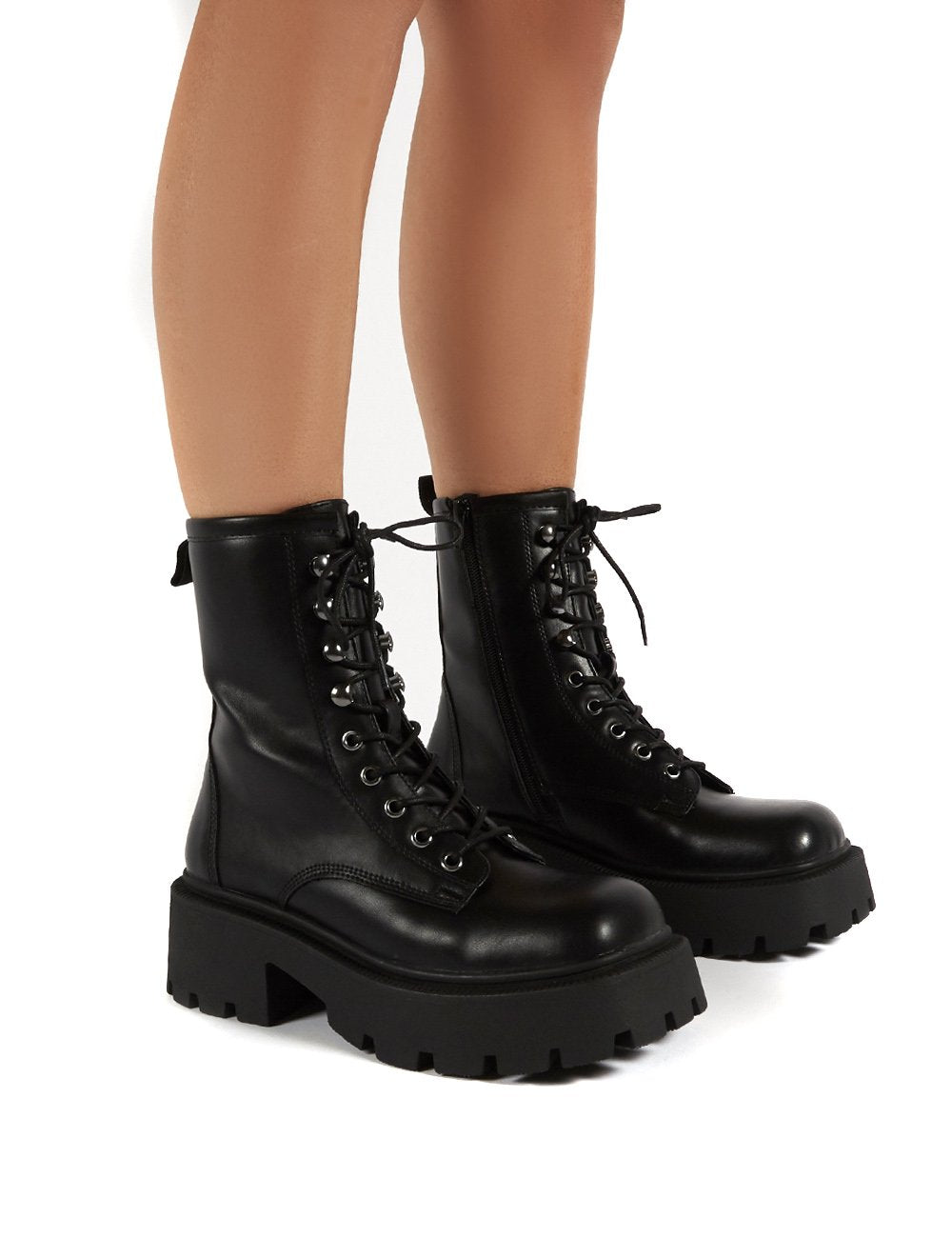 Leader Black Lace Up Chunky Sole Biker Boots - Us 5