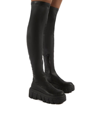 Lingo Black Over The Knee Chunky Sole Boots