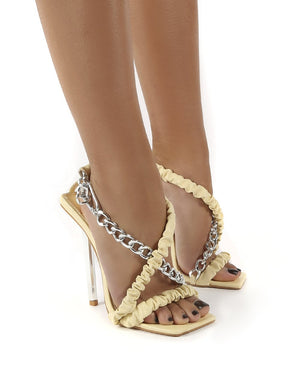 Matrix Cream Pu Chain Detail Statement Stiletto Heels
