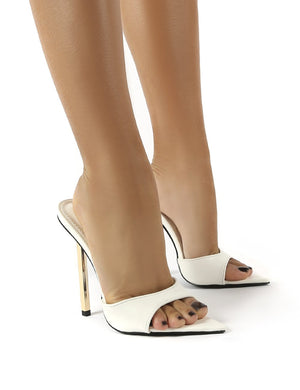 Mila White Pu Stiletto Heeled Mules