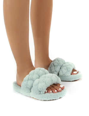 Minky Mint Fluffy Double Strap Slippers