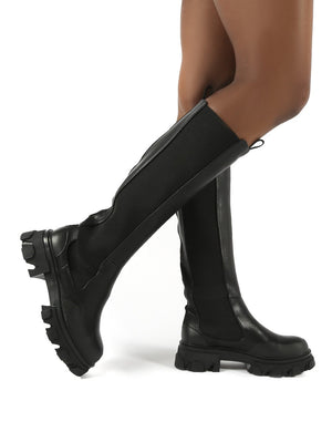 Monique Black Chunky Sole Knee High Boots