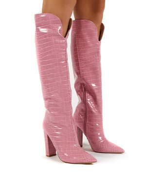 Slow Pink Croc Knee High Block Heel Boots