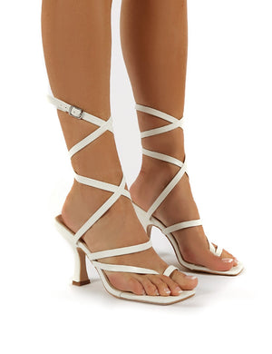 Sugar White PU Wrap Ankle Square Toe Heels